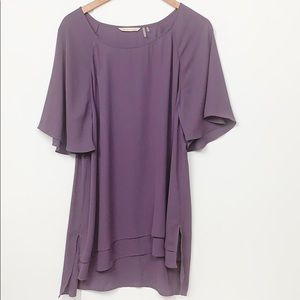 Soft Surroundings Purple Layered Short Sleeve Top